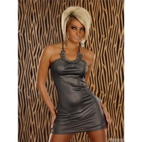 SEXY HALTERNECK MINIDRESS WITH SMALL STONES GREY