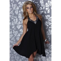 SEXY HALTERNECK MINIDRESS WITH RIVETS SEQUINS PEARLS BLACK