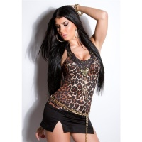 SEXY NECK-TOP MIT STICKEREI PAILLETTEN PERLEN LEOPARD