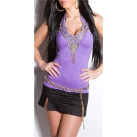 SEXY HALTERNECK TOP WITH EMBROIDERY SEQUINS PEARLS PURPLE Onesize (UK 8,10,12)