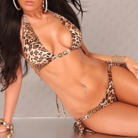 SEXY HALTERNECK BIKINI BEACHWEAR LEOPARD-LOOK LEO-BROWN UK 12 (L)