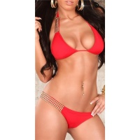 SEXY HALTERNECK BIKINI BEACHWEAR WITH RIVETS RED UK 14 (L)
