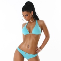 SEXY HALTERNECK BIKINI BEACHWEAR WITH EYELETS LIGHT BLUE UK 12