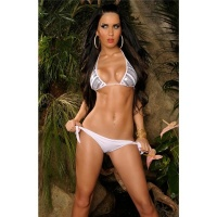 SEXY HALTERNECK BIKINI BEACHWEAR WITH SEQUINS WHITE UK 10 (S)
