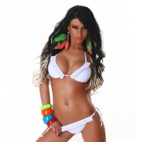 SEXY FLOUNCED HALTERNECK BIKINI BEACHWEAR WHITE UK 10/12