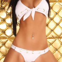 SEXY HALTERNECK BIKINI BEACHWEAR WHITE UK 12 (L)