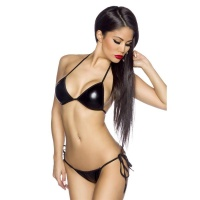 SEXY HALTERNECK BIKINI BEACHWEAR WET LOOK BLACK Onesize (UK 8,10,12)