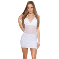 SEXY CLUB MINI DRESS WITH TRANSPARENT MESH GOGO WHITE