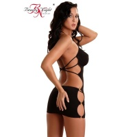 SEXY HALTERNECK MINIDRESS WITH RINGS CLUBBING CLUBWEAR GOGO BLACK
