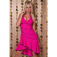 SEXY HALTERNECK LATINO DRESS SALSA FUCHSIA/BLACK