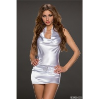 SEXY CLUBSTYLE PARTY MINIDRESS MADE OF SATIN WHITE Onesize (UK 8/10)