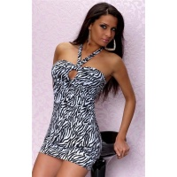 SEXY HALTERNECK MINIDRESS IN TIGER-LOOK