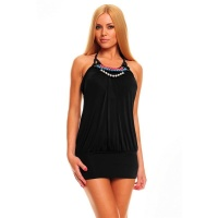 SEXY HALTERNECK MINIDRESS WITH PEARLS BLACK