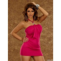 SEXY HALTERNECK MINIDRESS WITH RUFFLES FUCHSIA