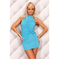 SEXY HALTERNECK MINI DRESS TURQUOISE UK 10/12 (M/L)