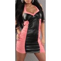 SEXY MINIDRESS FAUX LEATHER WET LOOK SALMON/BLACK