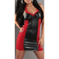 SEXY MINIDRESS FAUX LEATHER WELOOK RED/BLACK