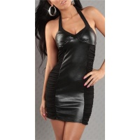 SEXY MINIDRESS FAUX LEATHER WET LOOK BLACK