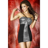SEXY HALTERNECK MINIDRESS METALLIC-LOOK BLACK/SILVER