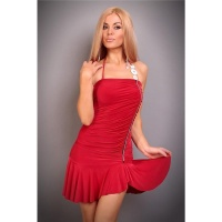 SEXY HALTERNECK MINI DRESS WITH RHINESTONES RED UK 10/12 (M/L)