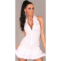SEXY HALTERNECK MINI DRESS WITH BELT WHITE