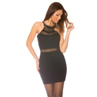 SEXY HALTERNECK MINIDRESS WITH FASHION JEWELLERY APPLICATION BLACK