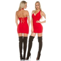 SEXY HALTERNECK MINIDRESS WITH LACING CLUBWEAR RED