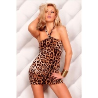 SEXY HALTERNECK MINIDRESS WITH RHINESTONE BROOCH LEOPARD LOOK