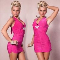 SEXY HALTERNECK MINIDRESS WITH RHINESTONES FUCHSIA UK 10/12 (M/L)