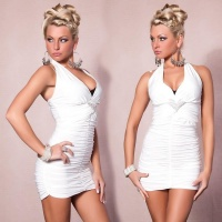 SEXY HALTERNECK MINI DRESS WITH RHINESTONES WHITE UK 10/12 (M/L)