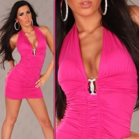 SEXY HALTERNECK MINI DRESS WITH RHINESTONE-BUCKLE FUCHSIA