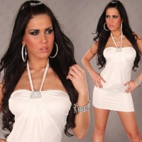 SEXY HALTERNECK MINIDRESS RHINESTONE BUCKLE WET LOOK WHITE UK 10/12 (M/L)