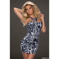 SEXY HALTERNECK MINIDRESS WITH ZIPPER LEOPARD LOOK NAVY/GREY