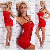 SEXY HALTERNECK MINI DRESS PARTY DRESS WITH ARTIFICIAL PEARLS RED Onesize (UK 8,10,12)