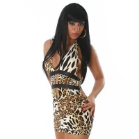 SEXY HALTERNECK MINIDRESS BACKLESS GOGO CLUBWEAR LEOPARD UK 10