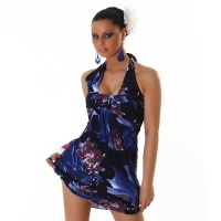ELEGANT HALTERNECK MINI DRESS WITH FLOWERS BLACK/BLUE Onesize (UK 8,10,12)