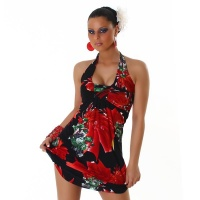 ELEGANT HALTERNECK MINI DRESS WITH FLOWERS BLACK/RED