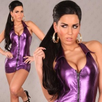 SEXY HALTERNECK MINIDRESS WET LOOK GOGO CLUBWEAR PURPLE