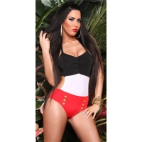 SEXY HALTERNECK MONOKINI BEACHWEAR BLACK/WHITE/RED