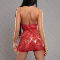 SEXY HALTERNECK FISHNET DRESS GOGO CLUBWEAR RED
