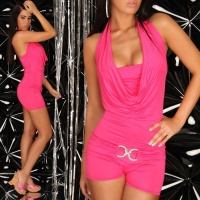 SEXY HALTERNECK SHORT OVERALL JUMPSUIT CLUBBING FUCHSIA