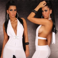 SEXY HALTERNECK OVERALL JUMPSUIT CLUBBING WHITE