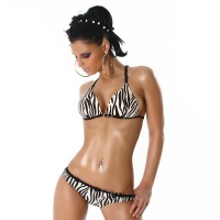 SEXY NECKHOLDER PUSH-UP BIKINI BEACHWEAR ZEBRA-LOOK