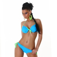 SEXY HALTERNECK PUSH-UP BIKINI TO TIE BEACHWEAR TURQUOISE