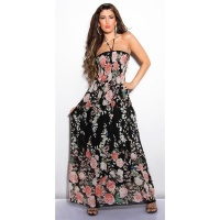 SEXY LONG HALTERNECK SUMMER DRESS WITH FLOWER DESIGN BLACK