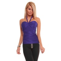 SEXY HALTERNECK TOP TOP WITH RUFFLES PURPLE UK 8/10 (S/M)