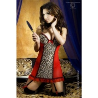SEXY NEGLIGEE WITH CHIFFON LEOPARD-LOOK LINGERIE RED/BROWN UK 12/14 (L/XL)