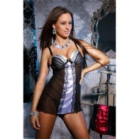 SEXY NEGLIGEE WITH THONG LACE SATIN LINGERIE BLACK/GREY UK 14 (XL)
