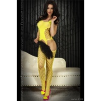 SEXY FISHNET BODYSTOCKING CATSUIT DESSOUS GOGO YELLOW Onesize (UK 8,10,12)
