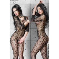 SEXY FISHNET BODYSTOCKING CATSUIT DESSOUS GOGO BLACK UK 8/10 (S/M)